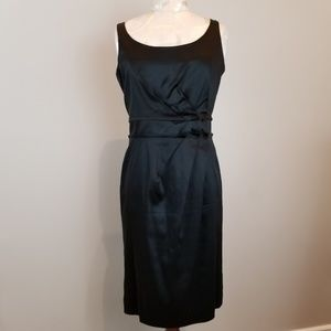 Talbots Black Satin Side Pleated Dress Size: 4P
